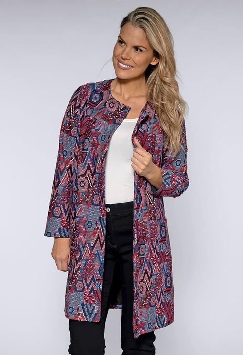 Sophie B Red and Blue Geometric Print Coat