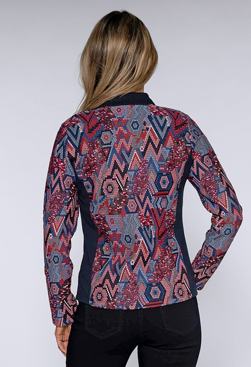 Sophie B Red and Blue Geometric Print Zip Up Jacket