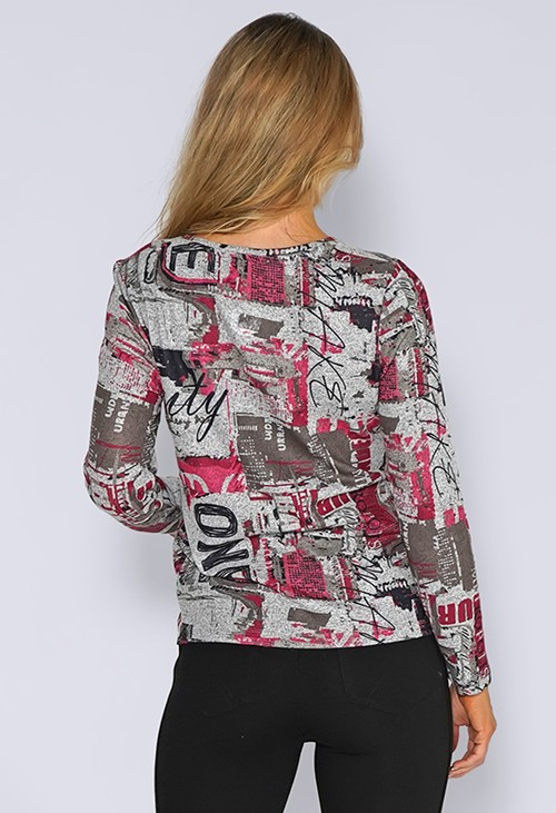 Sophie B Grey Knit Top with Fuchsia Abstract Print