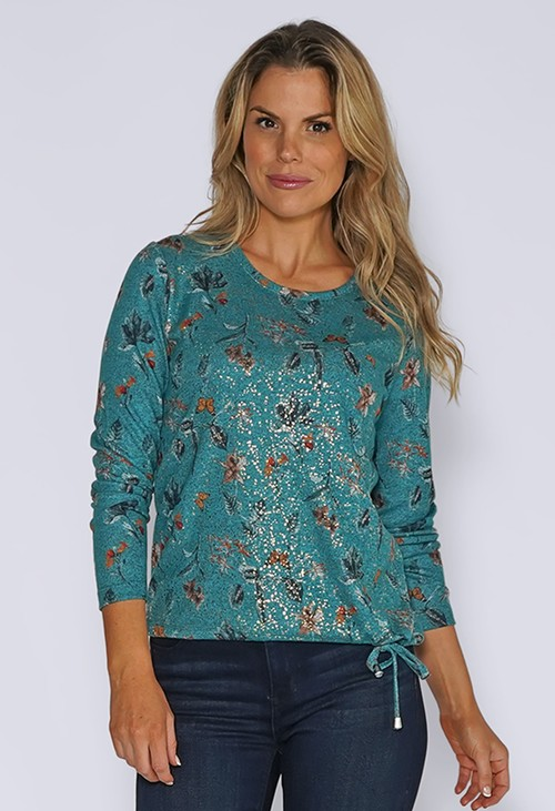 Sophie B Turquoise Butterfly Print Knit Top