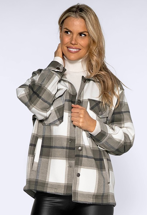 Pamela Scott Khaki Checked Shacket