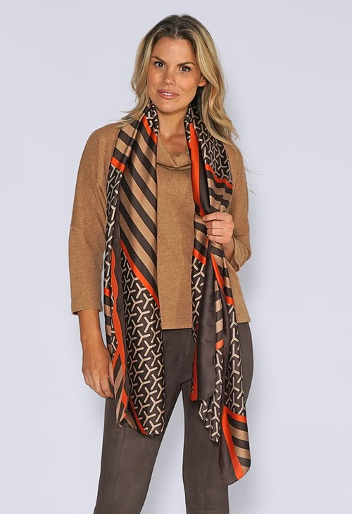 Pamela Scott Taupe Silk Feel Stripe and Print Scarf