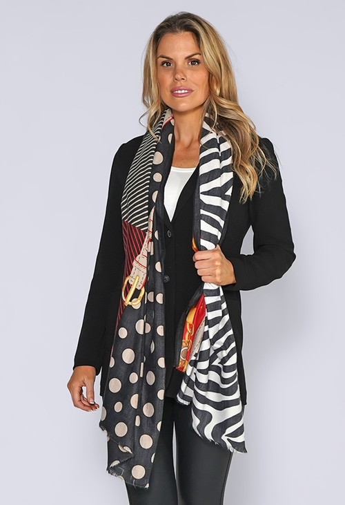 Pamela Scott Black Zebra Print Knit Scarf