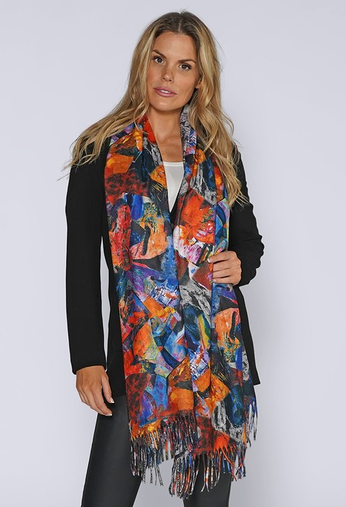 Pamela Scott Reversible Snake and Abstract Printed Scarf
