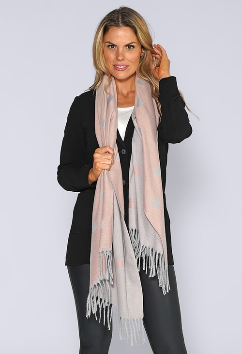 Pamela Scott Pink and Grey Spotted Knit Scarf