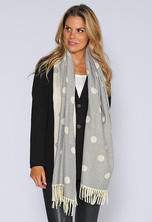 PS Accessories Sage and Grey Spotted Knit Scarf