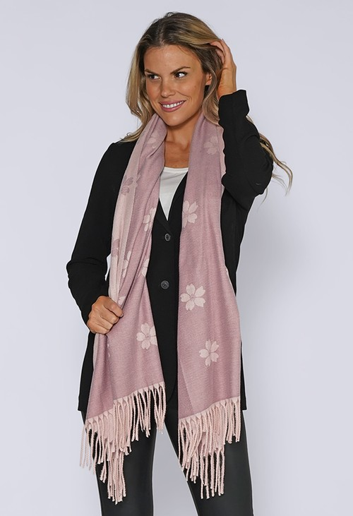 Pamela Scott Light Purple Floral Knit Scarf