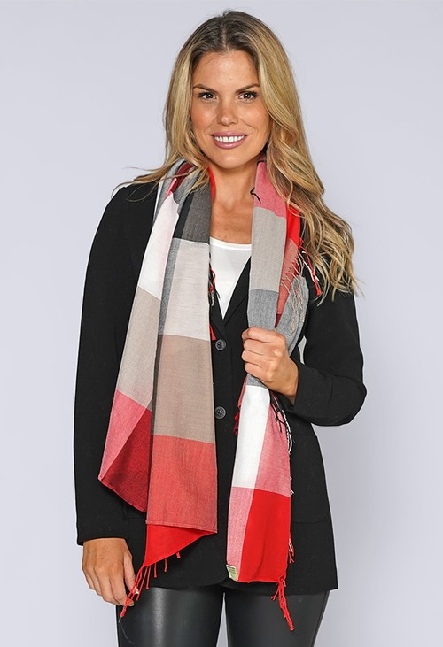 PS Accessories Red Checked Scarf
