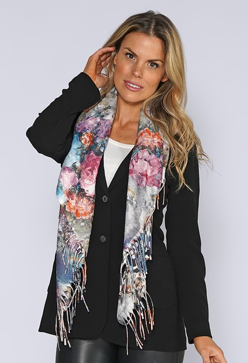 Pamela Scott Floral Print Reversible Knit Scarf