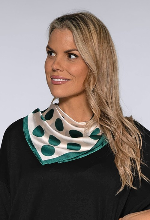 Pamela Scott Green Spot Square Scarf