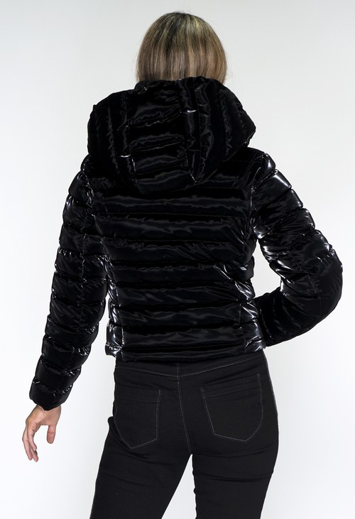 ICON Black Holographic Cropped Coat