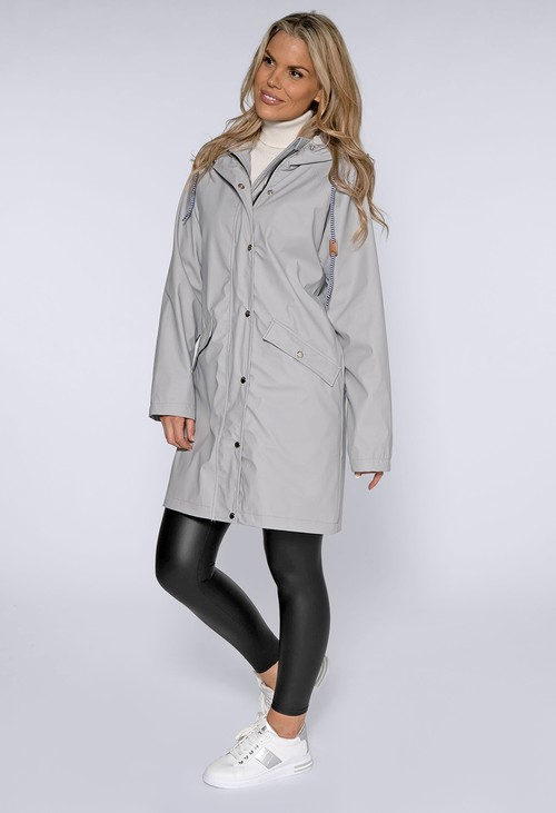 Pamela Scott Silver Hooded Rain Coat