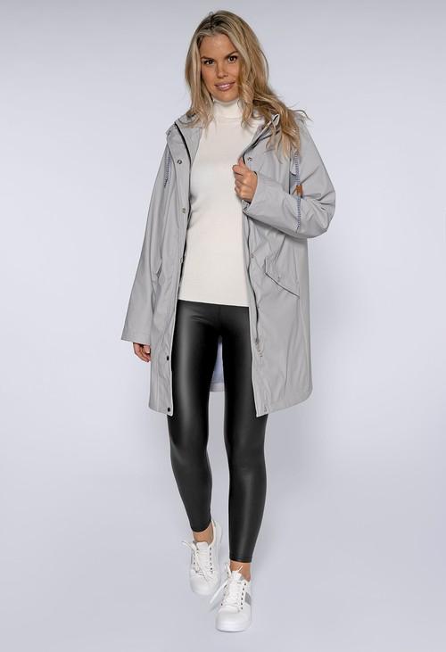 Pamela Scott Silver Hooded Rain Coat