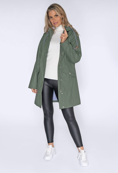 Pamela Scott Khaki Hooded Rain Coat