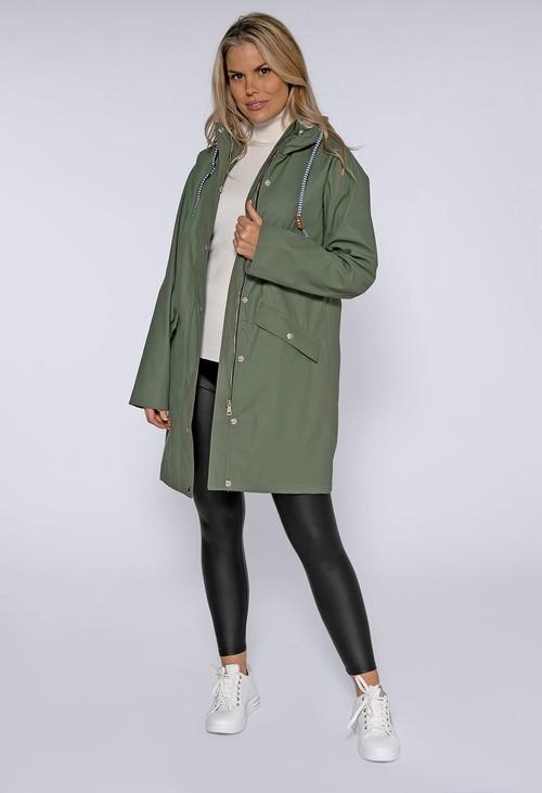 Pamela Scott Khaki Hooded Rain Coat