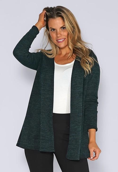 Zapara Green Knit Open Cardigan