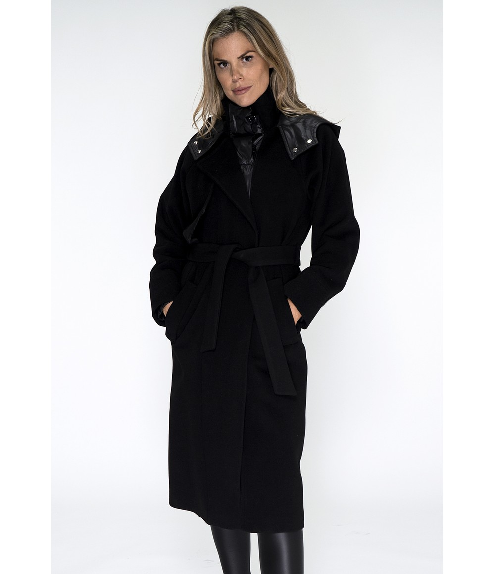 ICON Black Hooded Trench Coat