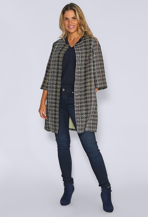 Zapara Black Lux Tweed Long Long Jacket with Sage Lining