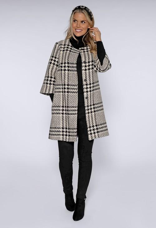 Zapara Black and Cream Lux Tweed Long Line Jacket