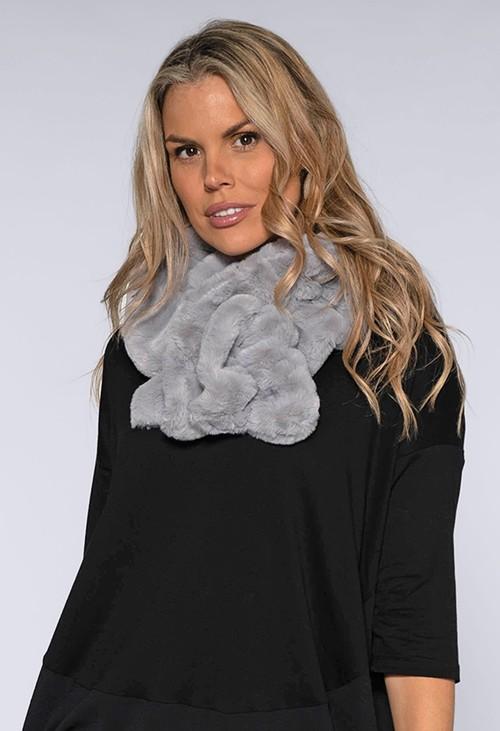 Pamela Scott Faux Fur Light Grey Snood