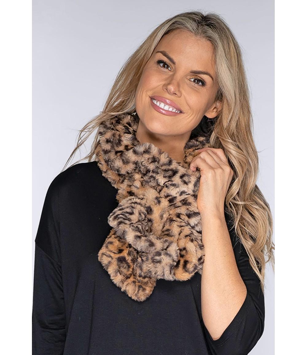 PS Accessories Faux Fur Leopard Snood
