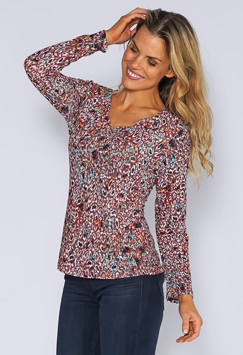 Sophie B Grey Knit Top with Rose Abstract Leopard Print