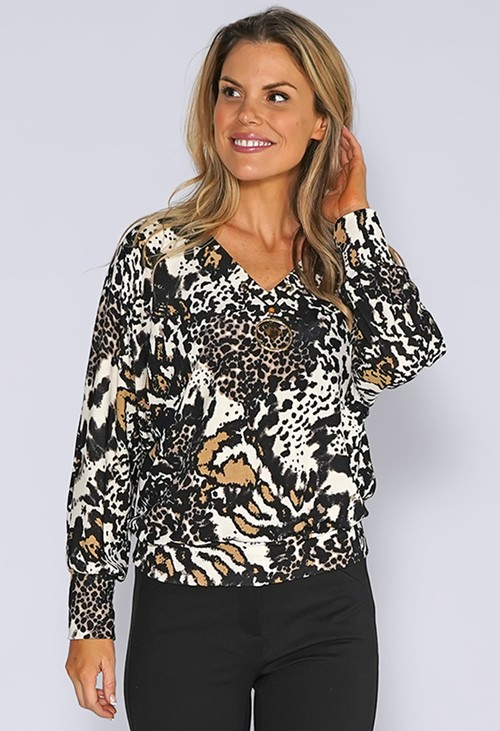 Zapara Black and Beige Leopard Print Top