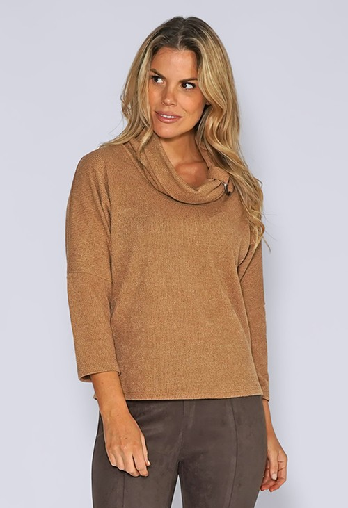 Sophie B Camel Rolled Neck Knit Jumper