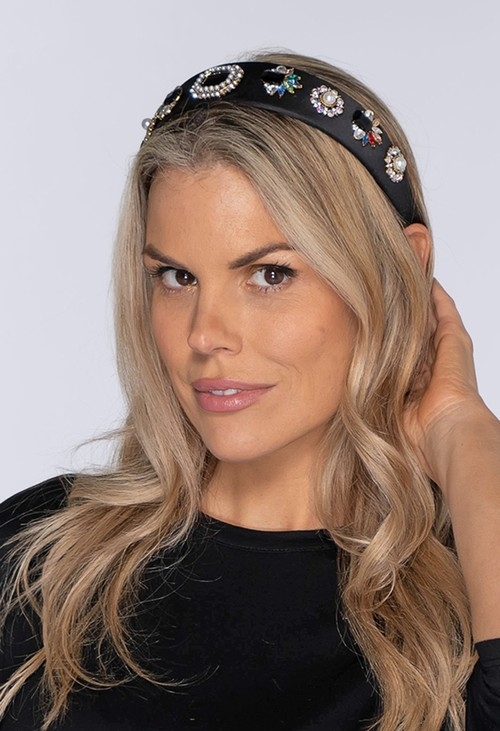 Pamela Scott Black Velvet Headband with Pearl and Jewel Details