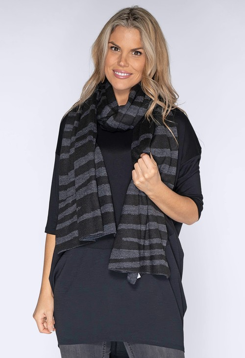 Opus Black and Grey Stripped Scarf