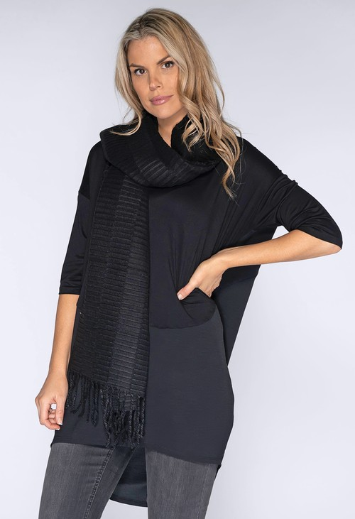 Opus Black Ribbed Knit Scarf