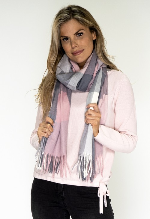 Pamela Scott Pink and Grey Checked Scarf