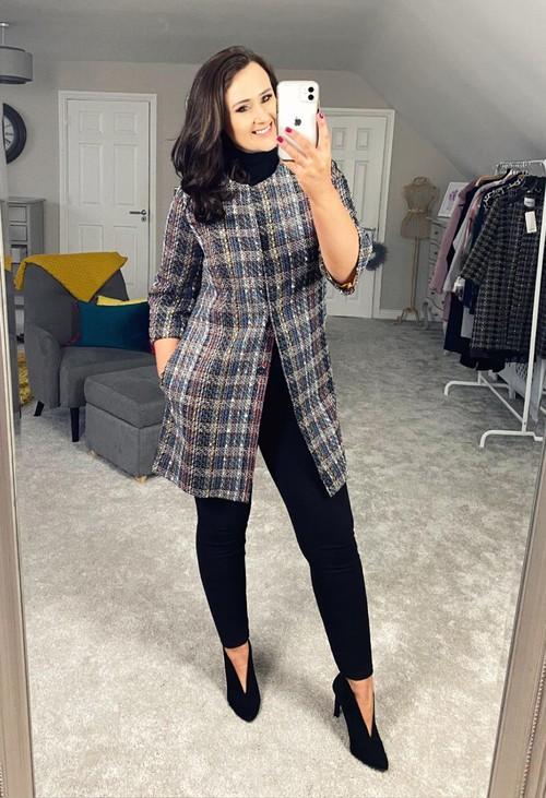 Zapara Black Rocha Lux Tweed Long Jacket with Gold Lining
