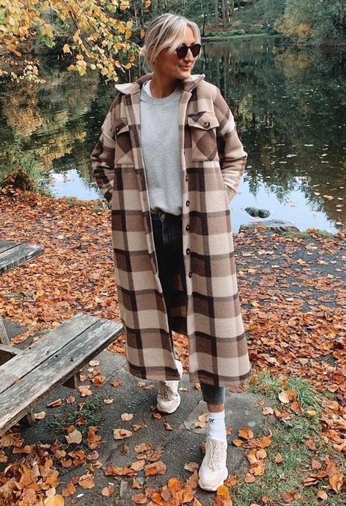 Pamela Scott Beige Check Long Coat