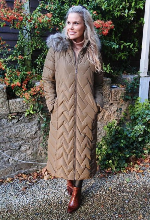 PS Collection Khaki Long Coat with Detachable Faux Fur Hood