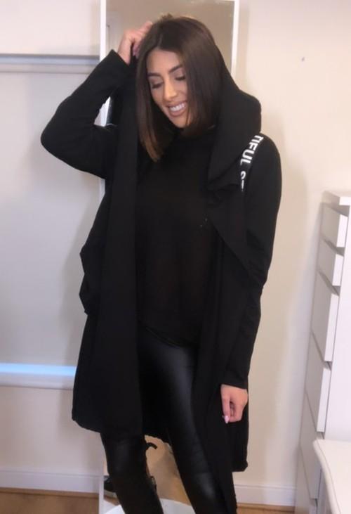 Pamela Scott Black 3/4 Length Coat with Back Circle Print