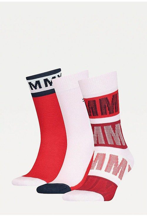 Tommy Hilfiger Socks 3-Pack Kids Red Cotton Blend Socks