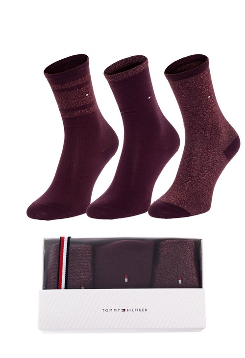Tommy Hilfiger Socks 3-Pack Woman's Sock Gift Box - Wine
