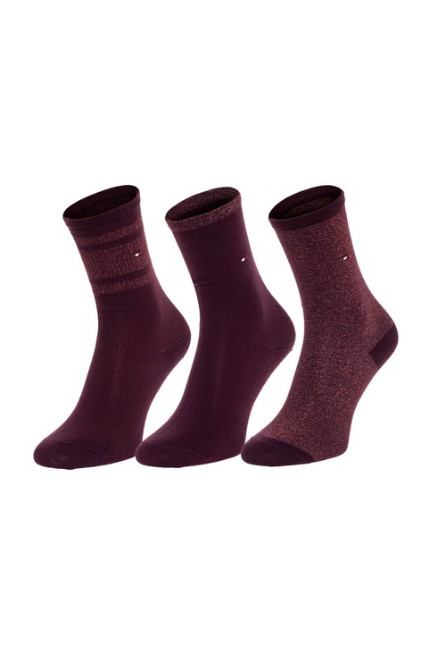 Tommy Hilfiger Socks 3-Pack Woman's Wine Glitter Finish Sock Gift Box