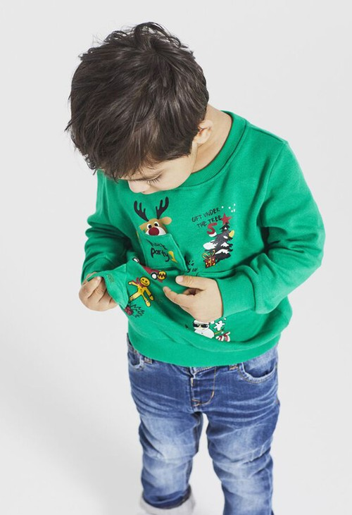 PS Kids Jolly Green Kids Knit Christmas Jumper