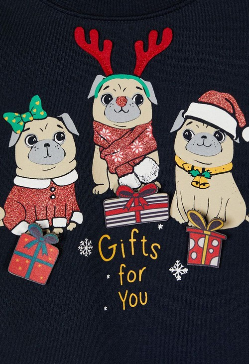 PS Kids Dark Sapphire Kids Knit Christmas Pugs Jumper