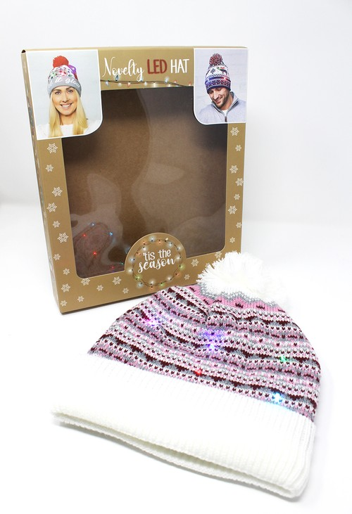 Something Special Pink Christmas Knit LED hat