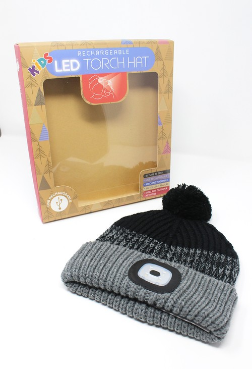 Something Special Black/Grey Kids Knit Hat with LED Torch