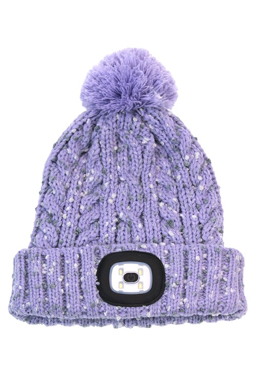 Something Special Lilac Kids Knit Hat with LED Torch