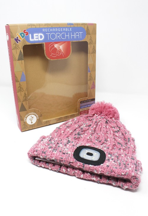 Something Special Pink/Beige Kids Knit Hat with LED Torch