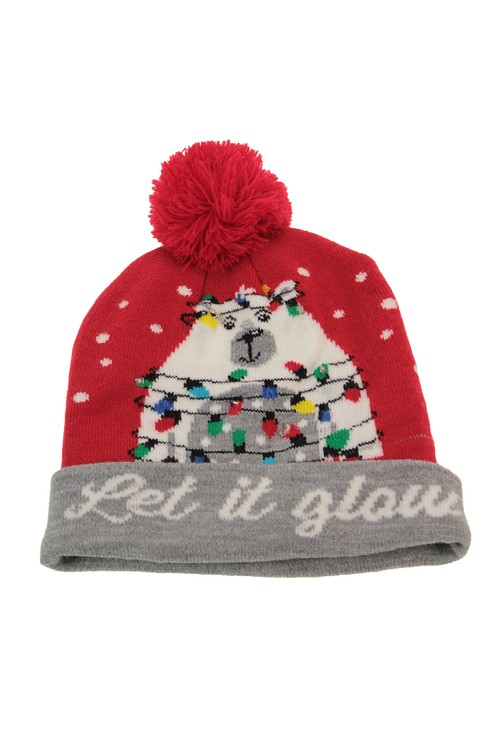 Something Special Red/Grey Christmas Knit LED hat
