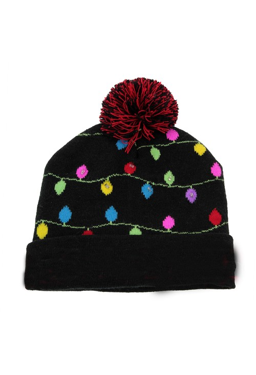 Something Special Black Christmas Knit LED hat