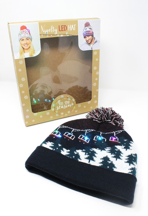 Something Special Navy Christmas Knit LED hat