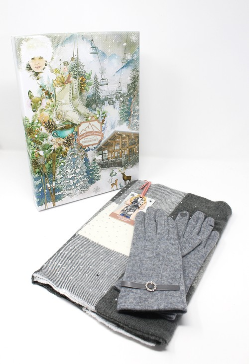 Something Special Grey Vintage Scarf and Wool Gloves Gift Set