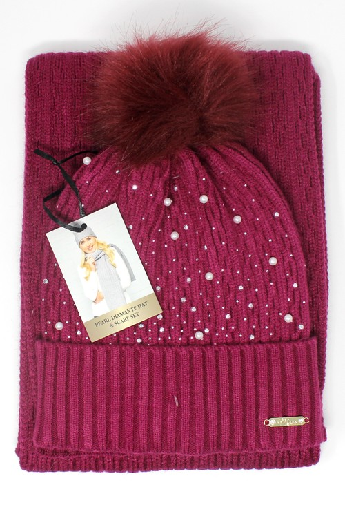 Something Special Berry Pearl Diamante Hat and Scarf Set